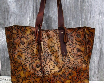 "Large Leather Tote Bag in Embossed ""Tooled"" Leather - Brown, Rustic, Boho Carry All by Stacy Leigh"