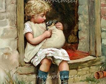 Nursery Art, Girl Baby Nursery Art Print, Little Girl's Room Art, Dog Art  #584