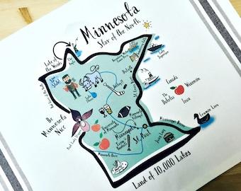 Minnesota State Map Kitchen/Tea Towel