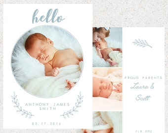 Birth Announcement Photoshop Template--Instant Download n114