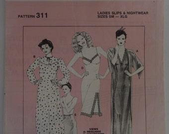 Negligee nightgown slip halfslip sewing pattern size S - XL Kombi Kwik-Knits 311 lingerie boudoir girly girl sleepwear honeymoon