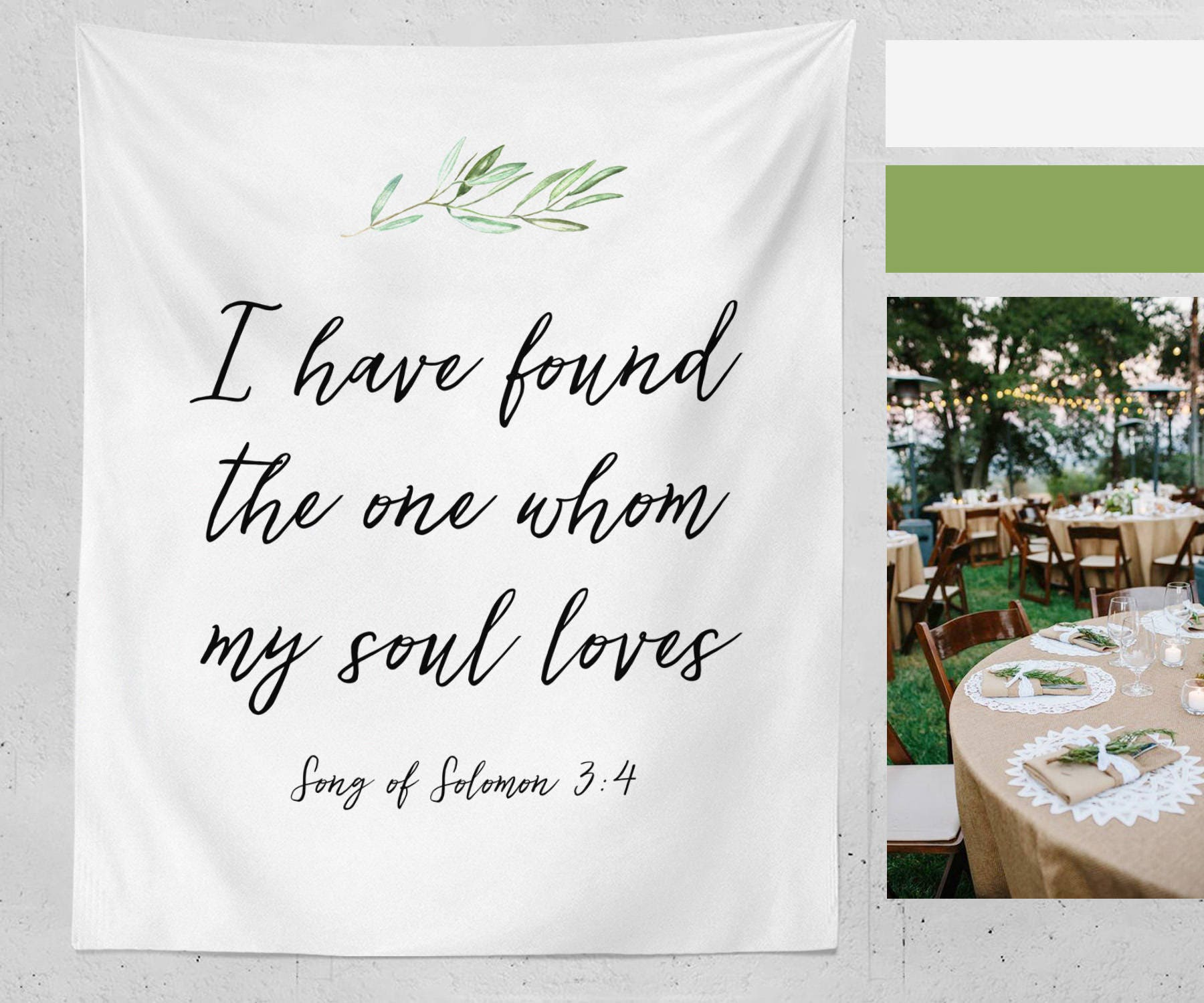 Christian Wedding Reception Ideas: I Have Found The One Whom My Soul Loves Fabric Banner Wedding