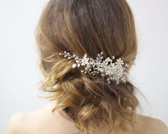Bridal Hair Comb Wedding Back Comb Pearl Crystal Headpiece Floral bridal headpiece Bridal accessory Pearl