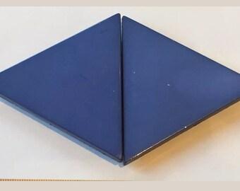 Vintage Blue Belt Buckle or Fastener Diamond Shape