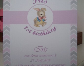 "lot of 10 birthday invitations ""rabbits"""