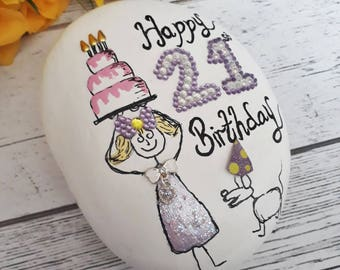 Painted pebble art gift, 21st birthday gift, 21st birthday keepsake gift, 21st birthday gifts for her, 21st celebration keepsake pebble.