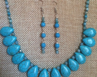 Turquoise and Delicate Crystals Collar Statement Necklace and Earrings