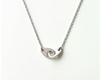 Silver 925/000 handcuff necklace, silver necklace intertwined handcuffs - handcuffs silver 925 solid sterling necklace