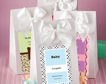 "48 Personalized Baby Shower White ""Delivered With Love"" Boxes - Set of 48"