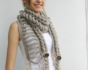 Hand knitted Milky Brown Wool long Scarf With Tassel / Christmas Gift / Outdoors Gift / Clothing Gift / Gift for Her