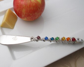 Hand wire wrapped and beaded spreader knife - rainbow