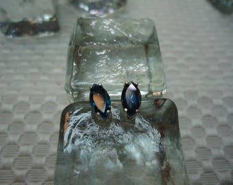 Marquise Cut London Blue Topaz Earrings in Sterling Silver  #2214