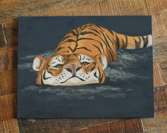 Tiger Art Card - zoo animals card, cute card, greeting card, fine art painting card, tiger drawing card, orange and blue, all occasions card
