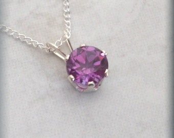 February Birthstone Necklace Sterling Silver Pendant Amethyst Jewelry