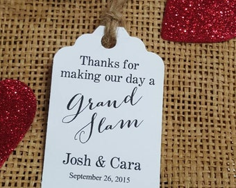 "Personalized Favor Tags 2.5x1.8"" Wedding tags, Thank You tags, Favor tags, Gift tags, Bridal Shower Favor Tags, baseball wedding favor tags"