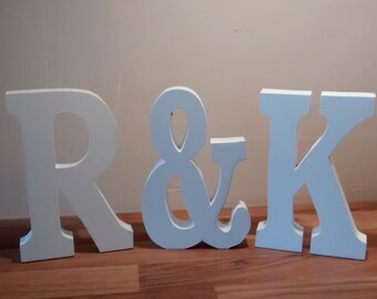 Large initials plus ampersand & sign, wedding gift, romantic,wooden letters,words, wedding table, engagement gift