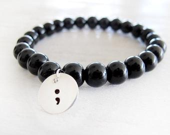 Beaded Semicolon Bracelet, Project Semicolon