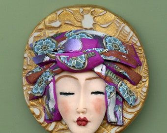 Asian Face cab with abstract Caned hat   OOAK Polymer clay Detailed  ASCR 4