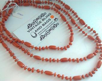 124cm vintage 1980s necklace, plastic necklace, bead necklace, brown necklace, long brown beads, vintage necklace, vintage long necklace