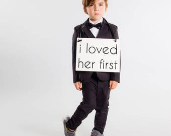 I Loved Her First Sign as seen on Good Morning America 2018 Biggest Wedding Trends | Handcrafted Banner for Son or Daughter of Bride 1803 BW