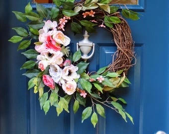 Bright Pink & White Large Floral Grapevine Wreath for Spring and Summer