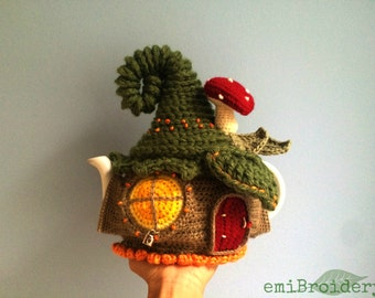 Custom-made Fairy House Teapot Cozy Crocheted to Order Including Teapot