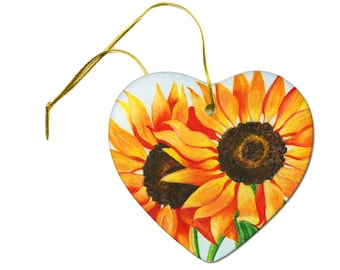 Artist Original Sunflower Art Print on a Hanging Heart Ornament
