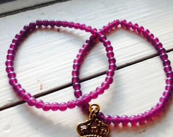 Purple Beaded Bracelets with Crown Charm
