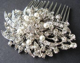 Victorian Style Pearl Rhinestone Bridal Hair Comb, Vintage Bridal Hair Piece, Bridal Hair Accessories, Crystal Wedding Hair Comb, Marlena