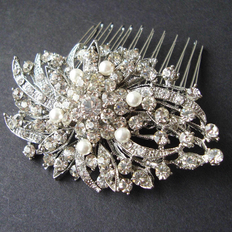 Victorian Style Wedding Hair: Victorian Style Pearl Rhinestone Bridal Hair Comb Vintage