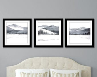 Print Set of 3 Prints, SQUARE Set of 3 Wall Art, Set of Three Prints, Wall art Set of 3 Watercolor Set, Painting Set of Art,Grey Black White