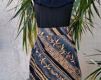 90's Gray skirt, black/rust design, side pleats, knee length, high waist, rayon, vintage