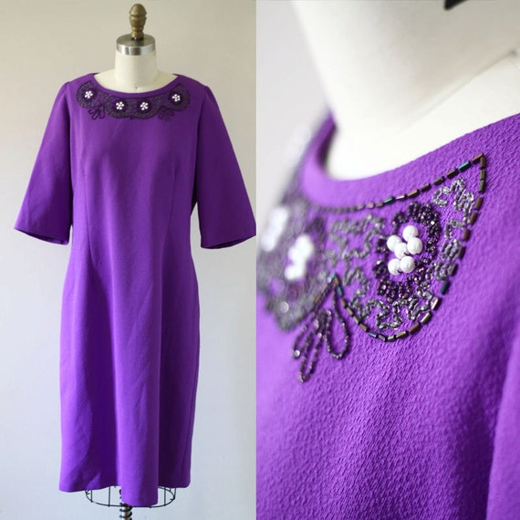 1970s purple shift dress //  1970s purple beaded dress // vintage party dress