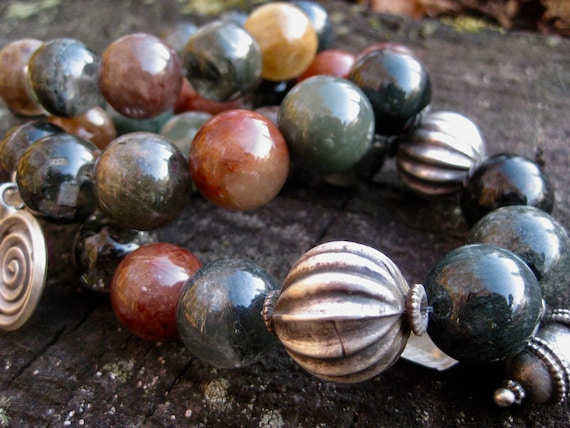 RAVEN   Multi Colored Quartz and Silver Spheres with Antique Silver Charms  and Gemstones Bracelets
