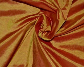 Fine Indian Silk taffeta in  Mustard yellow with Red - Fat quarter -TF 75