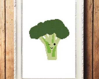 Happy Broccoli Cross Stitch Pattern (Digital Download)