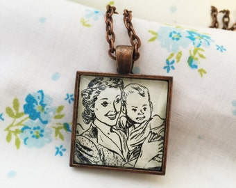 Mother Holding Baby Necklace, Special Gift for New Mom, One of a Kind Baby Shower Present, Vintage Mamma and Baby, I Love Mom, Gift from Dad