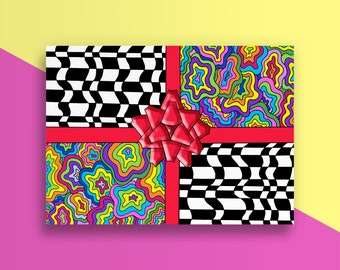Birthday Present Card - Trippy - Wrapping Paper - Colorful