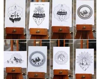 Lot 8 Cartes Postales Montagnes & Mandalas