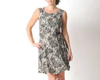 Sleeveless black and white dress, Lace print dress with sheer floral lace back, Womens dresses, Summer clothing, MALAM, size UK 10