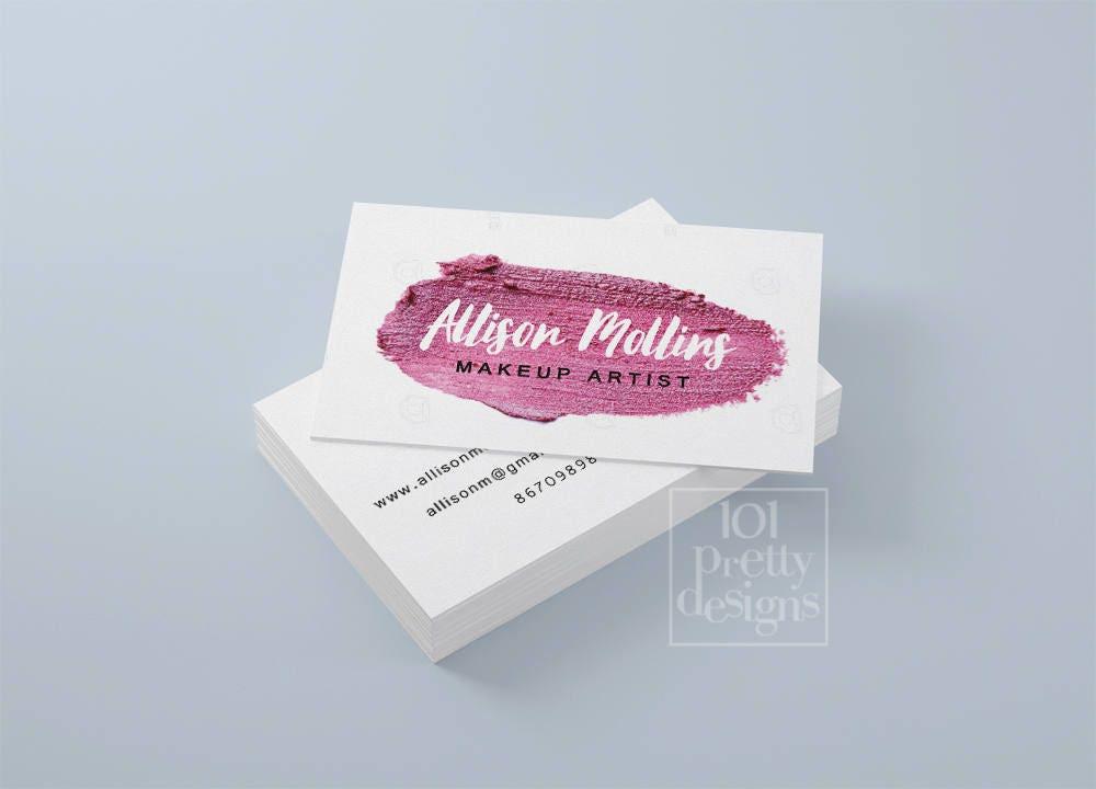 Pink business card makeup artist printable business card