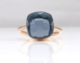 London blue topaz ring large - Blue gemstone ring - London blue ring - December birthstone - London blue topaz stackable ring