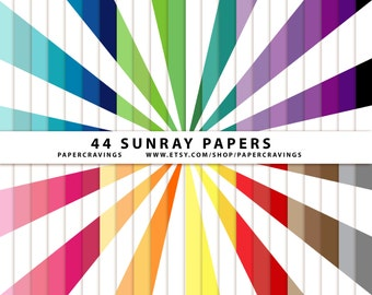 """Sunray Digital Paper Pack 12"""" x 12"""" Commercial and Personal Use - Weather - Sun Rainbow 44 sheets INSTANT DOWNLOAD scrapbooking no credit 37"""