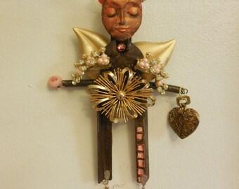 OOAK, Guardian ANGEL, Angel Wings,  Metal Sculpture , Metal Angel Wings, Guardian Angel Gift, Tangerine Wall Art, Orange Art, BFF Art