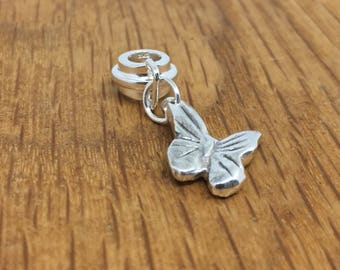 Silver butterfly pandora style charm, butterfly bracelet charm, silver butterfly charm, butterfly bracelet carrier, silver butterfly
