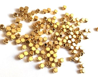 15 pcs- Bright  Gold Plated Cube Beads- 3x1,5mm-(003-033GP)