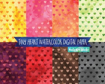 Watercolor Heart Digital Paper Commercial Use Instant Digital Download
