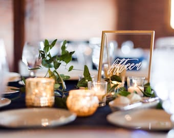 RENTAL | Hand lettered Gold Framed Table Numbers | Custom Wedding and Event Signage | Modern Calligraphy Framed Sign | Signage in Frames