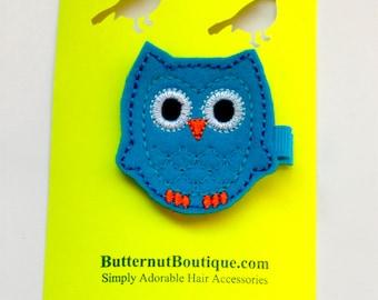 Turquoise Felt Owl Applique on Hair Clip