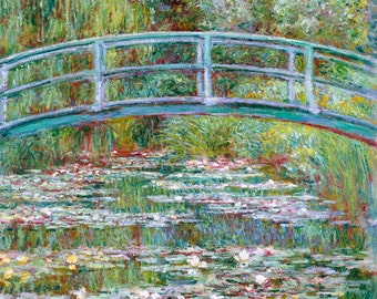 Monet 1899, Bridge over a Pond of Water Lilies, HD Canvas Print or Art Print, Vintage Antique Artwork Wall Poster French Impressionism